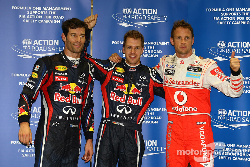 Pole winner Sebastian Vettel, Red Bull Racing, second place Mark Webber, Red Bull Racing, third place Jenson Button, McLaren Mercedes