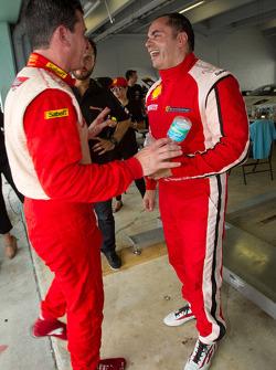 Race winner #777 Ferrari of Québec Ferrari 458 Challenge: Emmanuel Anassis celebrates with #22 Ferrari of Ft. Lauderdale Ferrari 458 Challenge: Enzo Potolicchio