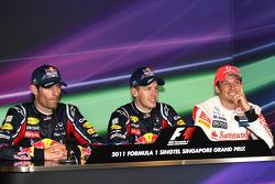 Press conference: race winner Sebastian Vettel, Red Bull Racing, second place Jenson Button, McLaren Mercedes, third place Mark Webber, Red Bull Racing