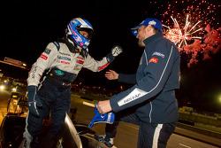 Race winners Stéphane Sarrazin and Franck Montagny celebrate