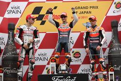 Podio: ganador de la carrera Dani Pedrosa, Jorge Lorenzo el segundo lugar y tercer lugar Casey Stone