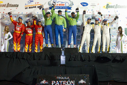 GTE-AM podium: class winners Tracy Krohn, Nic Jonsson and Michele Rugolo, second place Patrick Bornhauser, Julien Canal and Gabriele Gardel, third place Robert Kauffman, Rui Aguas and Justin Bell