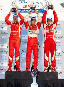 GT podium: class winners Giancarlo Fisichella, Gianmaria Bruni and Pierre Kaffer