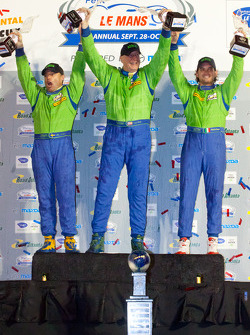 GTE-AM podium: class winners Tracy Krohn, Nic Jonsson and Michele Rugolo