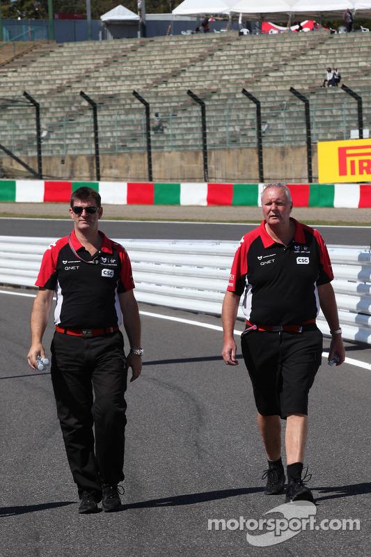 Graeme Lowdon Chief Executive of Marussia Virgin Racing and John Booth, Marussia Virgin Racing Sporting Director