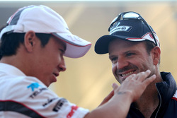 Rubens Barrichello, Williams F1 Team en Kamui Kobayashi, Sauber F1 Team