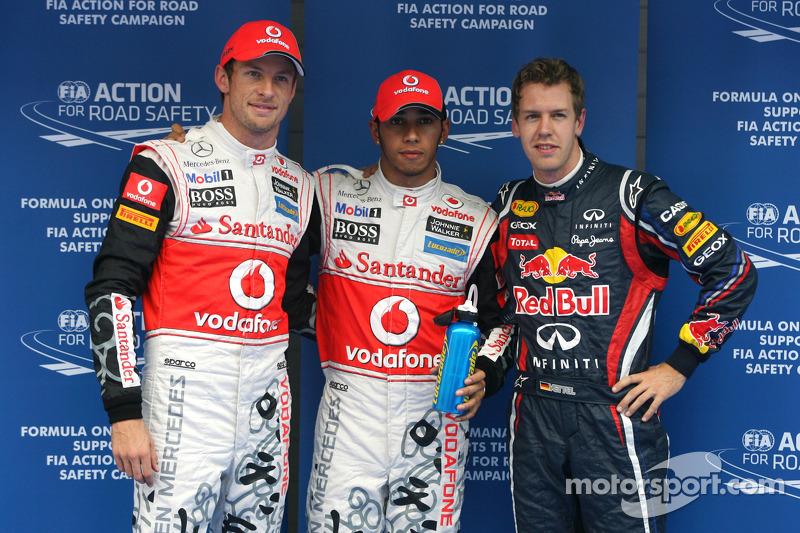Polesitter Lewis Hamilton, McLaren Mercedes, second place Sebastian Vettel, Red Bull Racing and thir