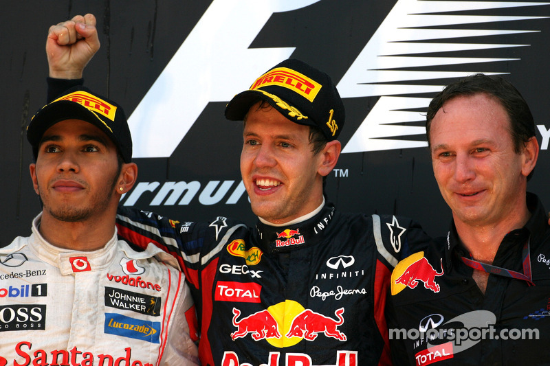 Podium: race winner Sebastian Vettel, Red Bull Racing, second place Lewis Hamilton, McLaren Mercedes