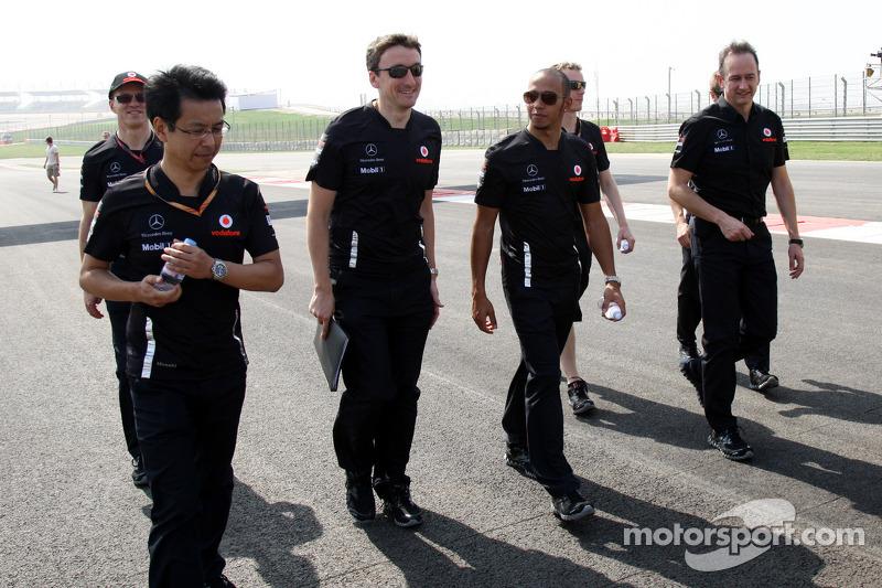 Lewis Hamilton, McLaren Mercedes walks the track