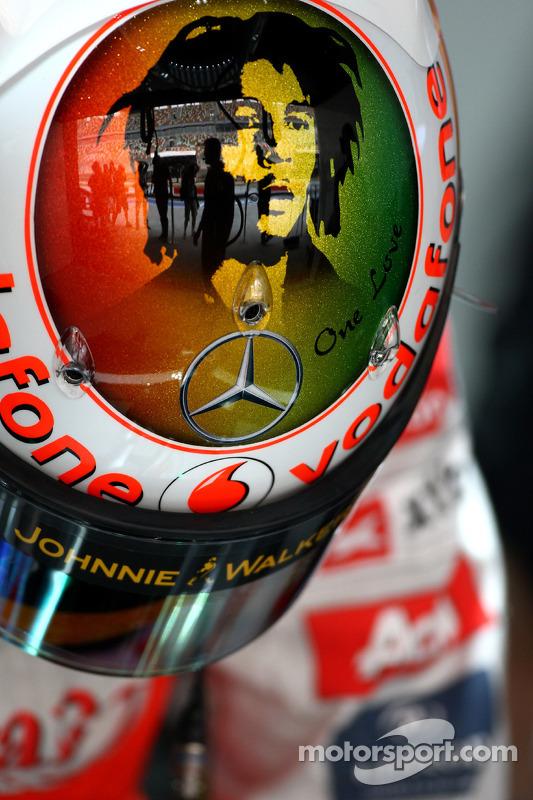 Lewis Hamilton, McLaren Mercedes new helmet with Bob Marley