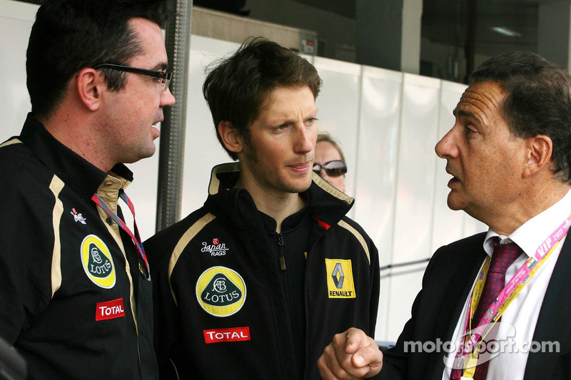 Eric Boullier, Team Principal, Lotus Renault GP, Romain Grosjean, French Minister of Industry, Energ