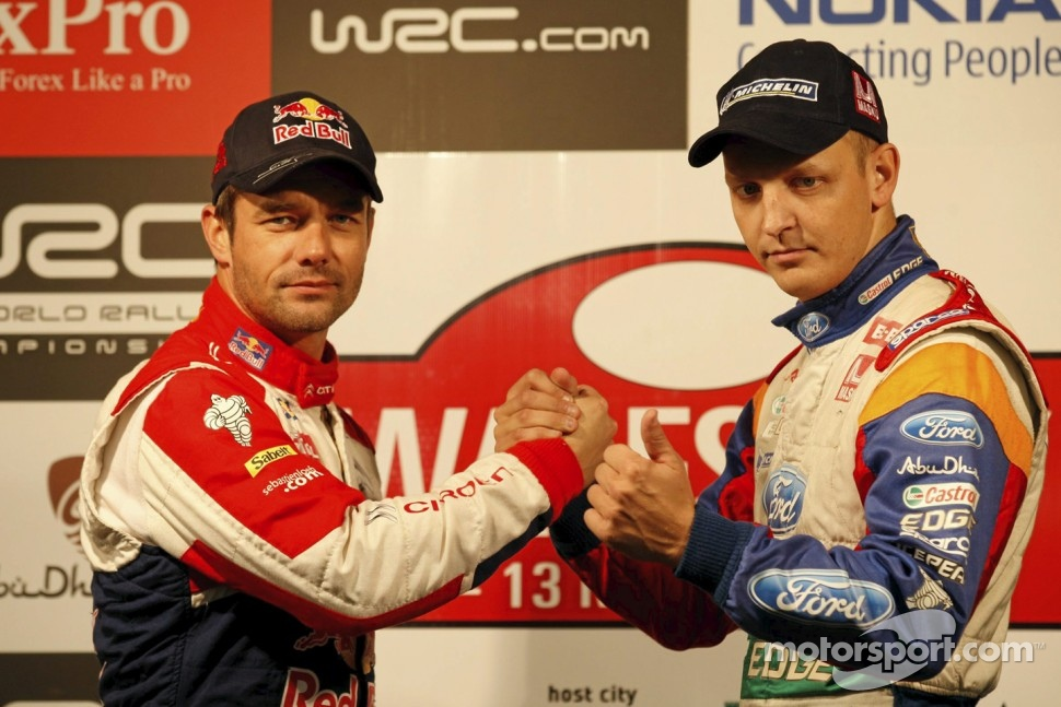 Sébastien Loeb and Mikko Hirvonen pose during Wales Rally GB Shakedown