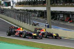 Mark Webber, Red Bull Racing passes Sebastian Vettel, Red Bull Racing