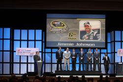 Jimmie Johnson, Dale Earnhardt Jr., Jeff Gordon, Denny Hamlin, Ryan Newman, Kyle Busch and Kurt Busch