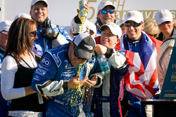 DP victory lane: class and overal winner A.J. Allmendinger celebrates with Michael Shank