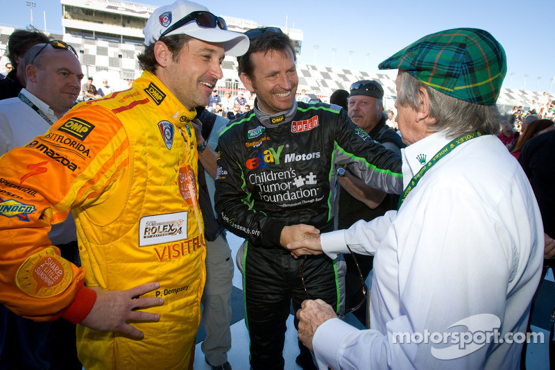 Patrick Dempsey, Justin Bell and Jackie Stewart