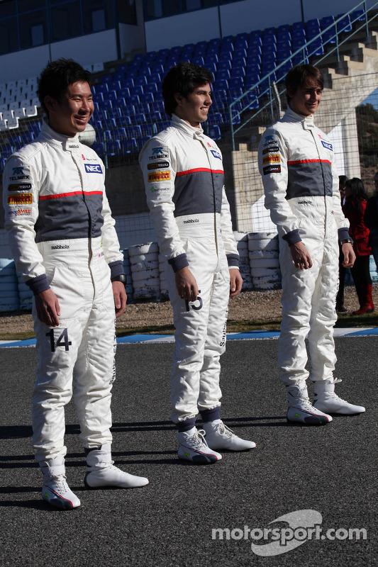 Kamui Kobayashi, Sauber F1 Team with Sergio Perez, Sauber F1 Team and Esteban Gutierrez, Sauber F1 Team