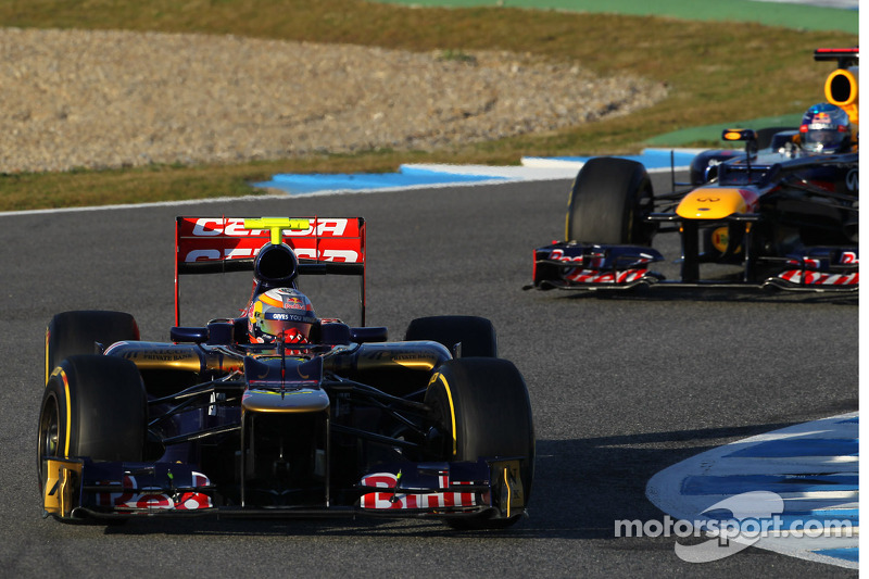 Jean-Eric Vergne, Scuderia Toro Rosso en Sebastian Vettel, Red Bull Racing
