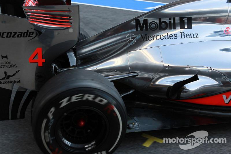 Lewis Hamilton, McLaren Mercedes uitlaat