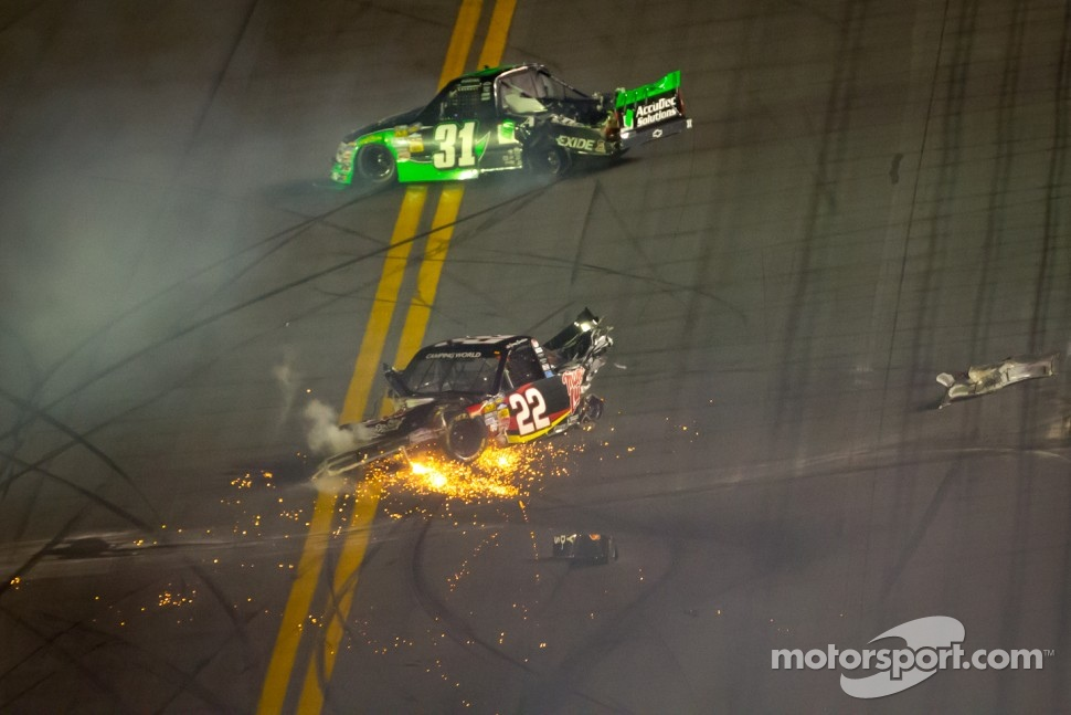 Joey Coulter, Richard Childress Racing Chevrolet and James Buescher, Turner Motorsports Chevrolet crash heavily at the checkered flag