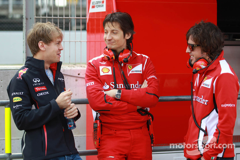 Sebastian Vettel, Red Bull Racing met Massimo Rivola, Scuderia Ferrari Sporting Director en Fernand