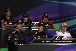 Press conference, Daniel Ricciardo, Scuderia Toro Rosso, Kimi Raikkonen, Lotus F1 Team, Charles Pic, Marussia F1 Team, Jenson Button, McLaren Mercedes, Mark Webber, Red Bull Racing and Sebastian Vettel, Red Bull Racing