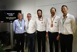 Ian Burrows, Matteo Bonciani, FIA Media Delegate, Nigel Geach, Charles Bradley, Motorsport.com Editor in Chief and Peter Bayer, FIA Secretary General for Motor Sport at the F1 Motorsport Network Global Fan Survey Press Conference