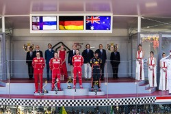 Race winner Sebastian Vettel, Ferrari, Second place Third place Kimi Raikkonen, Ferrari Daniel Ricciardo, Red Bull Racing, Riccardo Adami, Race Engineer, Ferrari, on the podium