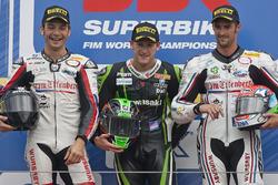 Podium: race winner Tom Sykes, Kawasaki Racing, second place Sylvain Guintoli, Liberty Racing, third place Jakub Smrz, Liberty Racing