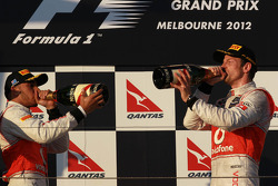 Lewis Hamilton, McLaren Mercedes with Jenson Button, McLaren Mercedes