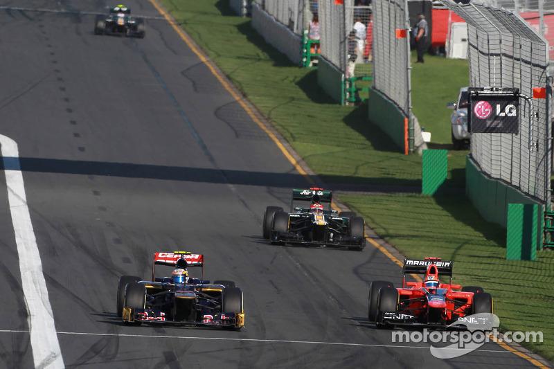 Jean-Eric Vergne, Scuderia Toro Rosso and Timo Glock, Marussia F1 Team