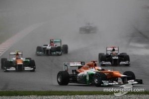 Paul di Resta, Sahara Force India Formula One Team leads Nico Hulkenberg, Sahara Force India Formula One Team