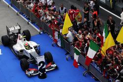 Second placed Sergio Perez, Sauber