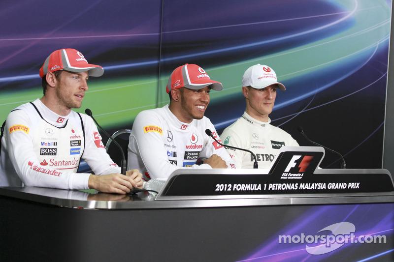 Michael Schumacher, Mercedes GP, Lewis Hamilton, Mclaren Mercedes y Jenson Button, Mclaren Mercedes