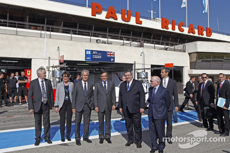 French Prime Minister François Fillon visits the paddock
