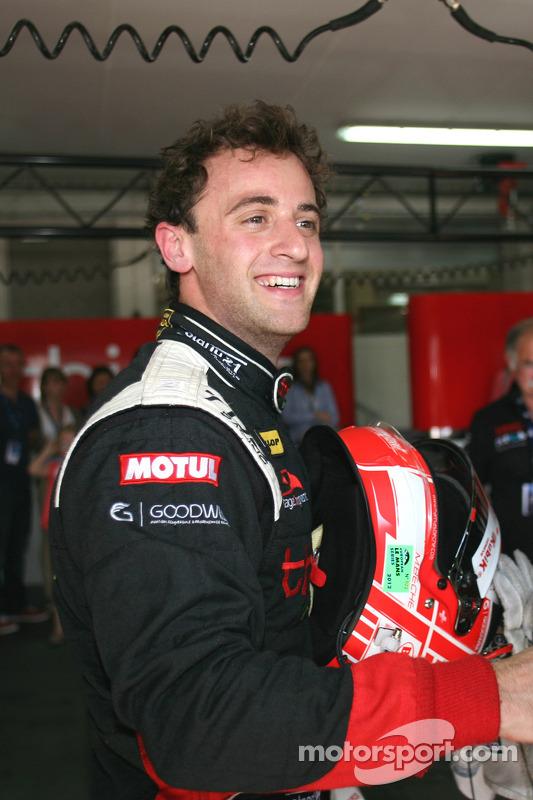 Pole winner Mathias Beche celebrates