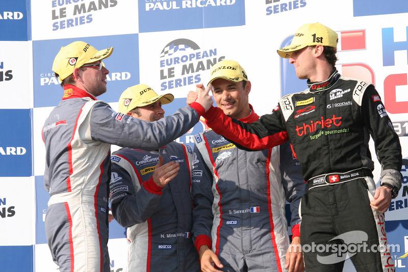 P2 podium: race winners Mathias Beche celebrates