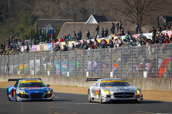 #52 Green Tec & Leaon Racing Team Mercedes-Benz SLS AMG GT3: Hironori Takeuchi, Haruki Kurosawa, #21 Hitotsuyama Racing Audi R8 LMS: Cyndie Allemann, Akihiro Tsuzuki