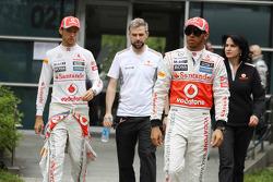 Jenson Button, McLaren Mercedes and team mate Lewis Hamilton, McLaren Mercedes