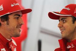 Fernando Alonso, Scuderia Ferrari met ploegmaat Felipe Massa, Scuderia Ferrari