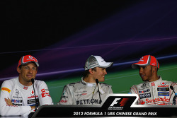 Press conference: race winner Nico Rosberg, Mercedes AMG F1, second place Jenson Button, McLaren, third place Lewis Hamilton, McLaren