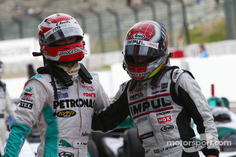 Race winner Kazuki Nakajima and third place Joao Paulo de Oliveira
