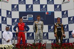 Podium: race winner Davide Valsecchi, second place Luiz Razia, third place Esteban Guttierez