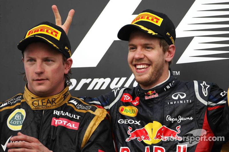 Kimi Raikkonen, Lotus F1 Team en Sebastian Vettel, Red Bull Racing