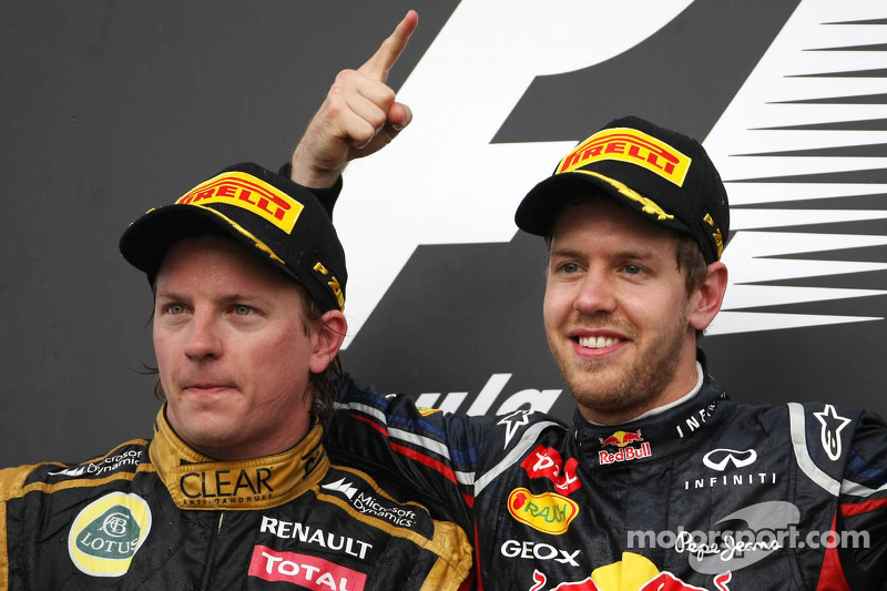 Kimi Raikkonen, Lotus F1 Team en Sebastian Vettel, Red Bull Racing