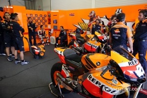 Repsol Honda Team waiting waiting for a break in the weather