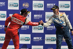 Second place Alexey Dudukalo, SEAT Leon WTCC, Lukoil Racing Team, third place Alain Menu Chevrolet Cruze 1.6T, Chevrolet