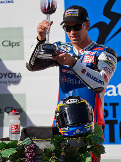 Blake Young toasts his SuperBike win