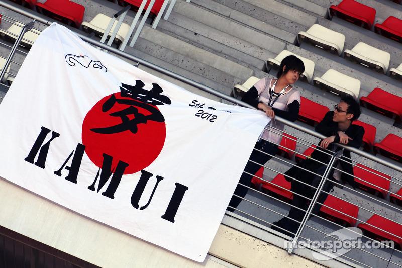 Kamui Kobayashi, Sauber F1 Team fans en spandoek