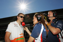 Paul di Resta, Sahara Force India F1 with Natalie Pinkham, Sky Sports Pitlane Reporter